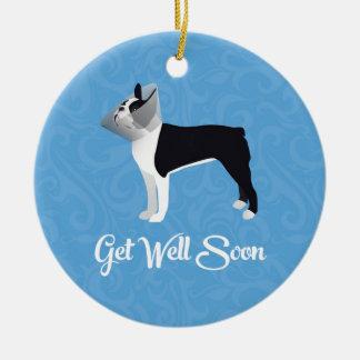 Black Boston Terrier Get Well Soon Funny Dog Ceramic Ornament