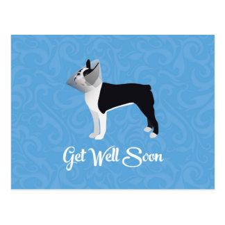 Black Boston Terrier Get Well Soon Funny Dog Postcard