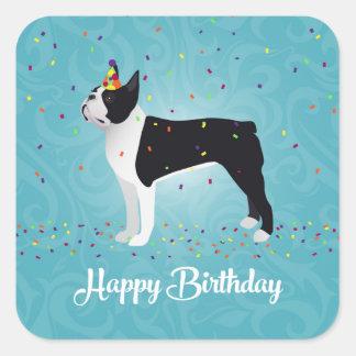 Black Boston Terrier Happy Birthday Design Square Sticker