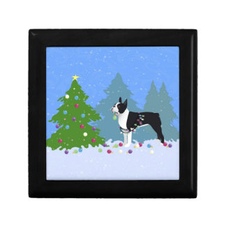 Black Boston Terrier in Christmas Forest Jewelry Box