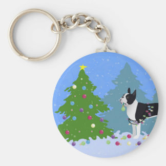 Black Boston Terrier in Christmas Forest Keychain