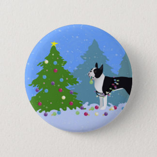 Black Boston Terrier in Christmas Forest Pinback Button