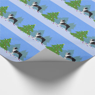 Black Boston Terrier in Christmas Forest Wrapping Paper