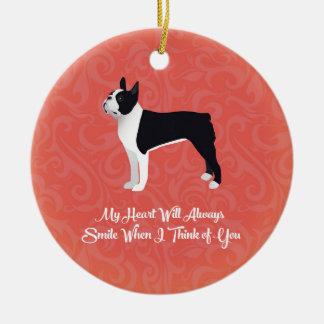 Black Boston Terrier My Heart Will Always Smile Ceramic Ornament