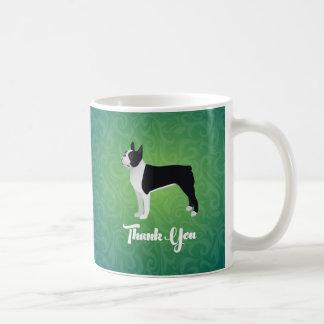 Black Boston Terrier Thank You Note Design Coffee Mug