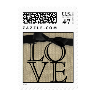 Black Bow and Burlap Love Postage