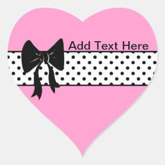 Black bow and polka dots heart sticker
