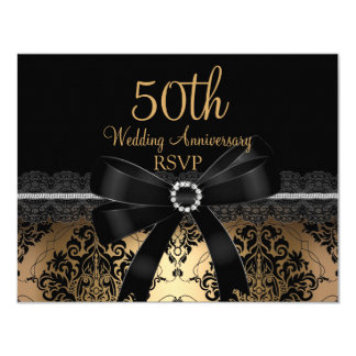 Black Bow & Damask Gold 50th Anniversary RSVP Card