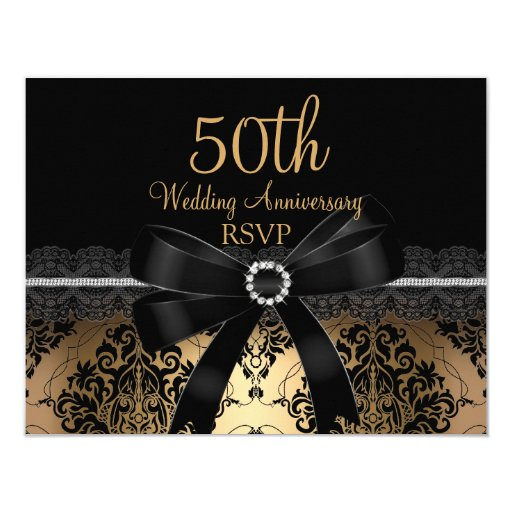 Black bow damask gold th anniversary rsvp card zazzle