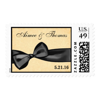 Black Bow Gold Background Wedding Bride and Groom Stamp