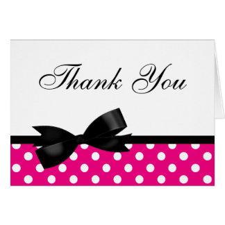 Black Bow Pink Polka Dots Thank You Greeting Card