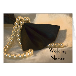 Black Bow Tie and Pearls Wedding Shower Invitation
