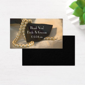 Black Bow Tie and White Pearls Wedding Favor Tags