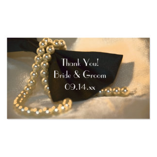 Black Bow Tie and White Pearls Wedding Favor Tags Business Card