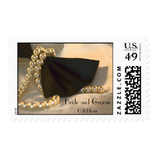 Black Bow Tie and White Pearls Wedding Postage