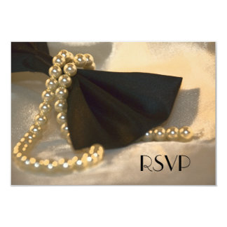 Black Bow Tie and White Pearls Wedding RSVP Card