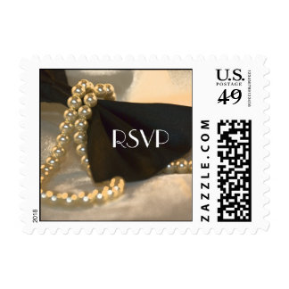Black Bow Tie and White Pearls Wedding RSVP Postage