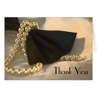 Black Bow Tie and White Pearls Wedding Thank You Card