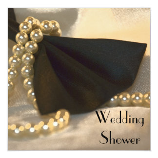 Black Bow Tie White Pearls Couples Wedding Shower Card