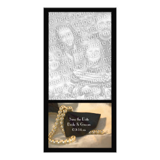Black Bow Tie White Pearls Wedding Save the Date Card