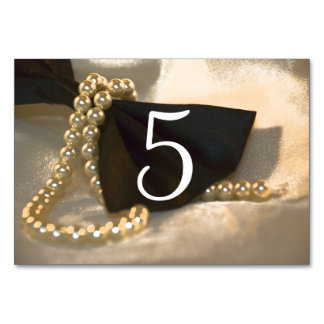 Black Bow Tie White Pearls Wedding Table Numbers Card