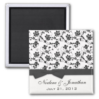 Black Bow Wedding Flower Magnet