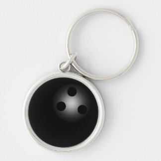 Black Bowling Ball Bowlers Silver-Colored Round Keychain