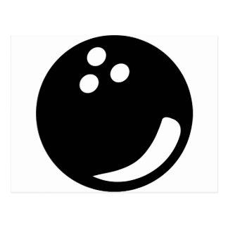 black bowling ball postcard