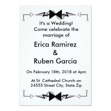 Wedding Themed Black Bowtie Electronic Wedding Card