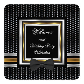 Black Bowtie Gold Silver Studs Birthday Party Card