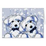 Black Bowtie Maltese Dogs Greeting Card