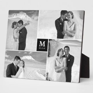 Black Box Timeless Monogram Wedding Photo Easel Plaque