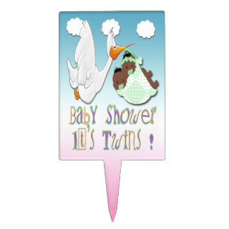Black Boy & Girl Twins Baby Shower Cake Topper
