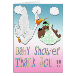 Black Boy & Girl Twins Baby Shower Thank You card