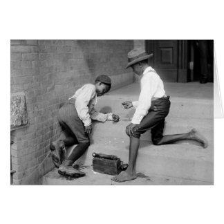 Black Boys Shooting Craps 1901 Card