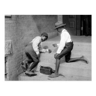 Black Boys Shooting Craps 1901 Postcard