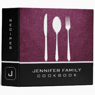 Black & Boysenberry Leather Family Cooking Binder