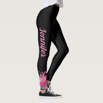 BLACK Breast Cancer Support Ribbon Leggings NAME