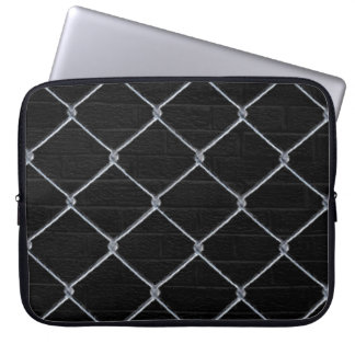 Black Brick Wall & Chain-Link Fence Laptop Sleeve