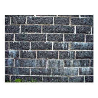Black Brick Wall Texture Postcard