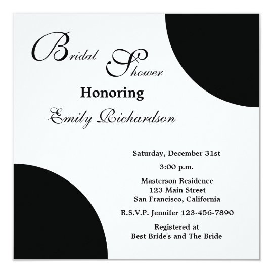 Black Bridal Shower Invitation -- Black on White
