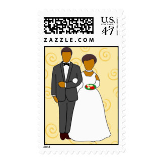 Black Bride and Groom Butterscotch Postage