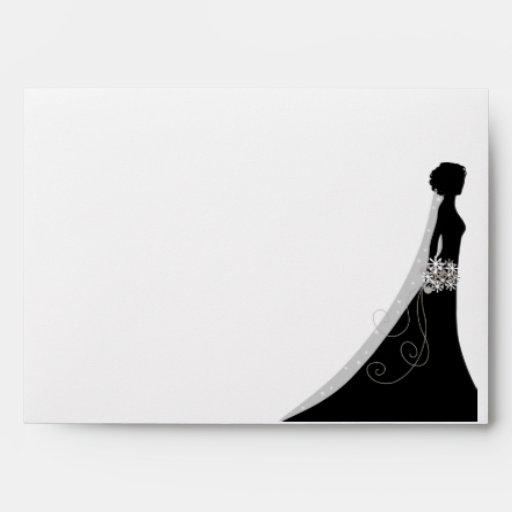 Black Bride Silhouette Wedding Invitation Envelope