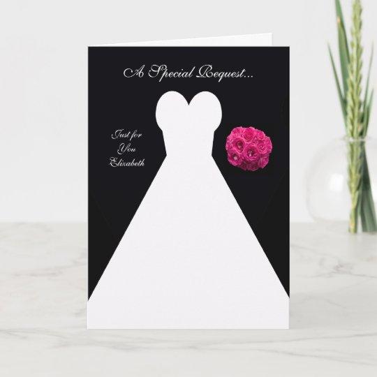 Black Bridesmaid Invitation Card -- Bridal Gown