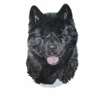 Black brindle akita dog portrait sculpture magnet photo sculpture magnet