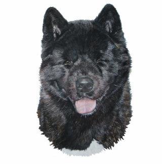 black brindle akita dog portrait sculpture pin photo sculpture button