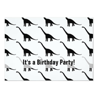 Black Brontosaurus Dinosaur Shadow Dino 5x7 Paper Invitation Card