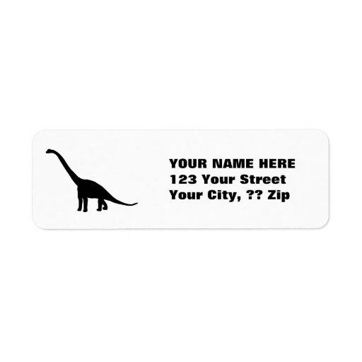 Black Brontosaurus Dinosaur Shadow Dino Custom Return Address Label