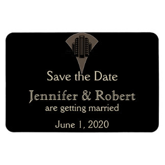 Black Bronze Art Deco Tower Wedding Save the Date Magnet