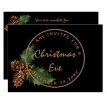 Black Bronze Christmas Eve Dinner Winter Party Invitation